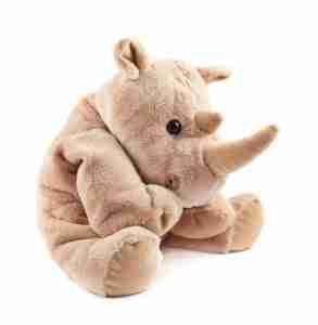 Rhinoceros rhino stuffed plush toy isolated over white background