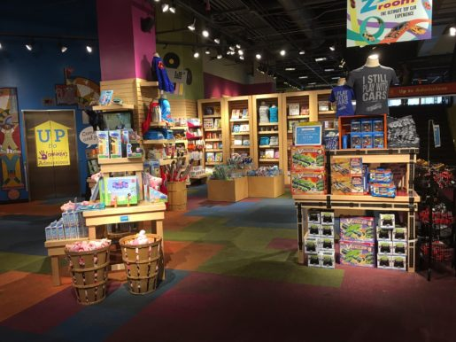 A view of the Chicago Children's Museum store. The store is full of educational toys, books and games as well as logo merchandise.