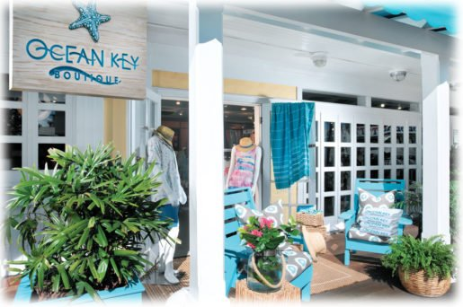 The storefront of the Ocean Key Boutique. In addition to merchandise, the store is selling a lifestyle.