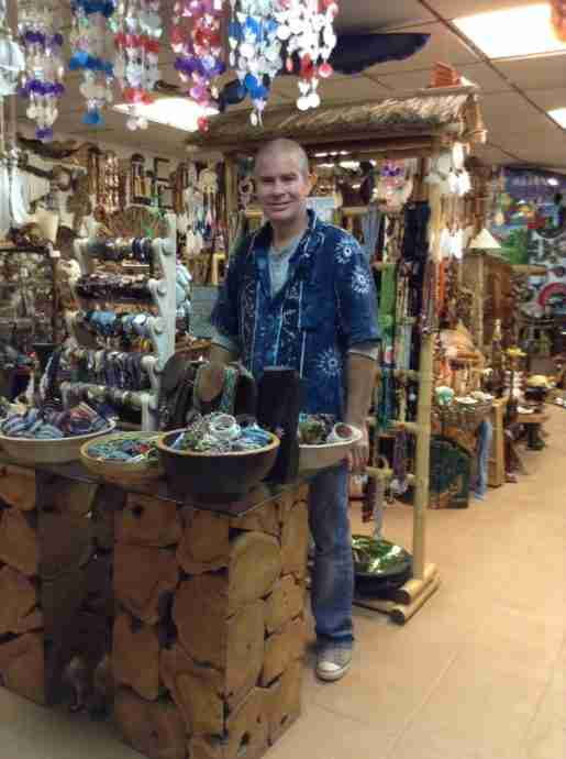 Roger Brangan, owner, Pacific Soul, Ocean City, N.J. Brangan purchases merchandise directly from craftspeople in Bali.